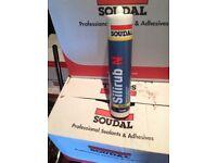 Black Soudal silirub N silicone sealant adhesive fixing. BARGAIN.....