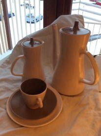 Poole coffee set mushroom/sepia 2 jugs 8 of cups saucers plates