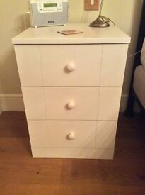 Ivory bedroom drawer units - 2 bedside, 1 tall boy and 1 tall chest