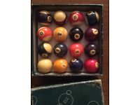 Complete set of vintage pool balls. Original, probably 1960's, boxed.