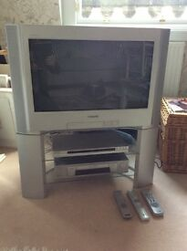 "SONY 26"" TRINITRON TV, CD/DVD, VHS RECORDER, PLUS STAND"