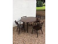 Ercol Dark Wood Table and Chairs