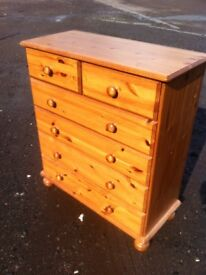 Solid pine two over four chest of drawers