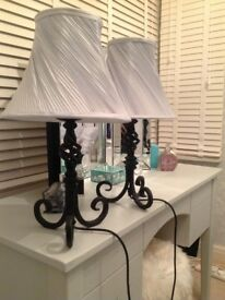 Two table/bedside heavy wrought iron lamps with duck egg lamp shades
