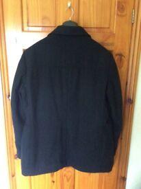 Men's black double breasted longer length jacket