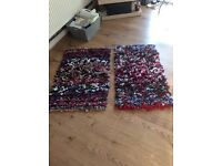 2 x rag rugs homemade, multi coloured with hessian backing
