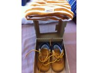 Baby timberland boots size 2 and matching hat