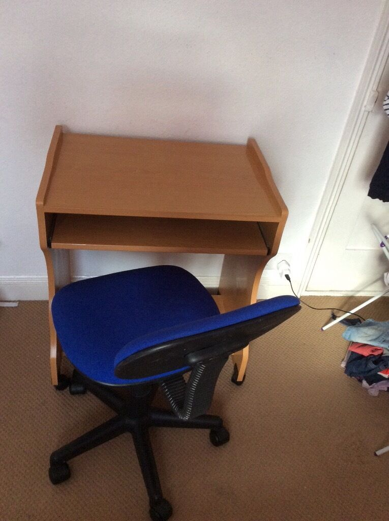 Desk and office chairin Ipswich, SuffolkGumtree - Desk and office chair Both on wheels Desk has slide out keyboard surface and bottom shelf. Small scratches on the top surface as shown in picture. But both generally good, clean condition. Height adjustable swivel chair. Collection, Ipswich IP1