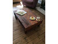 HANDMADE RECLAIMED PALLET WOOD COFFEE TABLE WITH SHELF