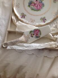 Old foley, dainty miss, cake plate, and slice in original box