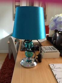 TEAL LAMP LIGHT WIH SHADE MODERN DESIGN BEDSIDE LIVING ROOM SILVER GREEN BLUE