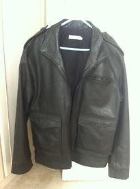 Mens Designer Leather Jacket by Rocha-John-Rocha - in Black - Size Medium - RRP £250 -