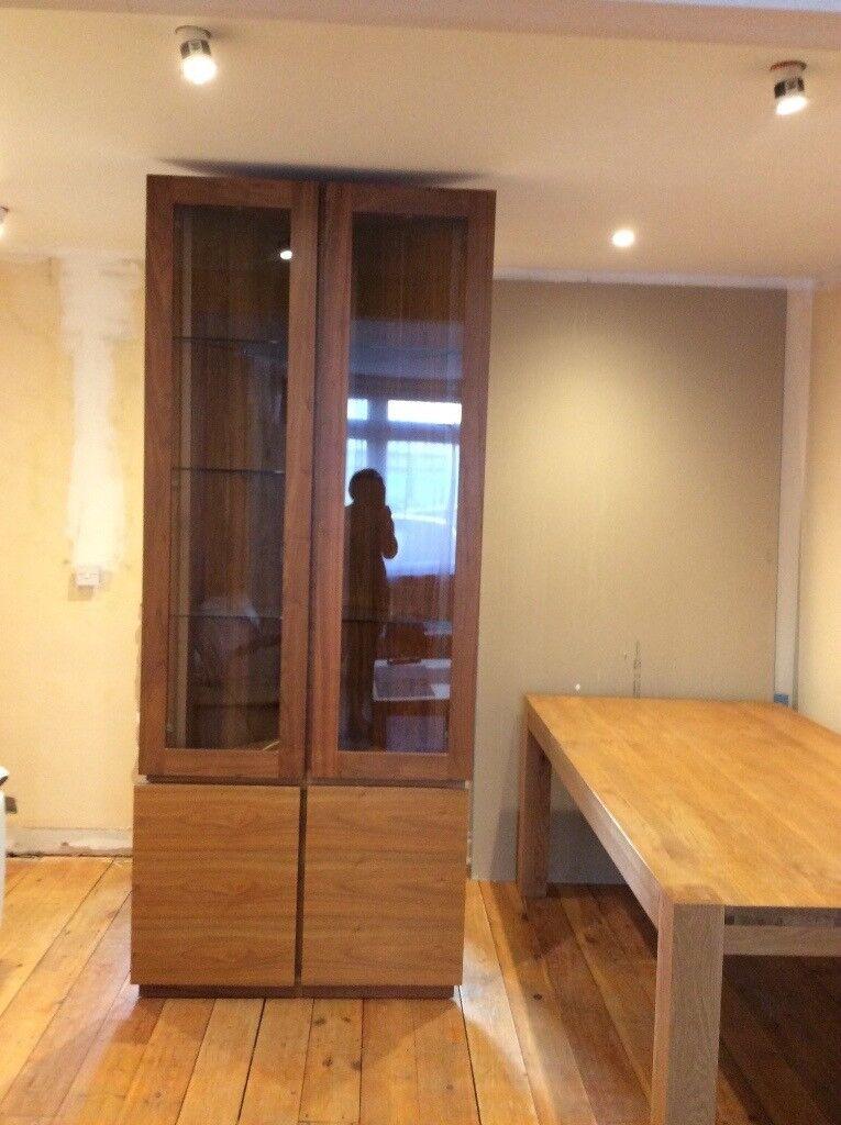 Solid Oak Corner Display Cabinet With Glass Doors In Feltham