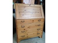 Solid pine lockable writing bureau office home drawers