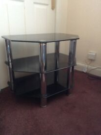 Black glass 3-tier TV stand 23 1/2 inch wide