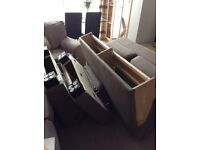 Two seater Ikea settee excellent condition taupe coloured fabric with black feet