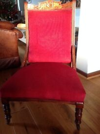 Occasional chair, nursing, armless, dark wood, antique, possible re upholstery project, red velvet
