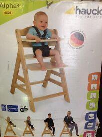 Wooden High Chair. Alpha+ by Hauck BNIB