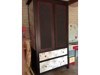 Ikea Hemnes upcycled wardrobe Black brown Red Gorgeous