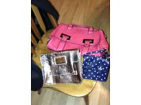 Pink shopping bag, gold lipsy handbag and navy with white spots across the body bag
