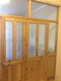 Room Partition, 2x doors, glass panes and timber frames. To fit approx size 98x98 inches