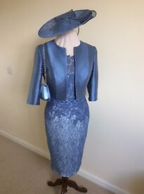 John Charles Dress and Jacket, Size 12, with matching hat and bag (shoes also available separately)