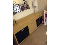 Sideboard/sidetable, wooden with black high gloss cupboard doors, modern and stylish.