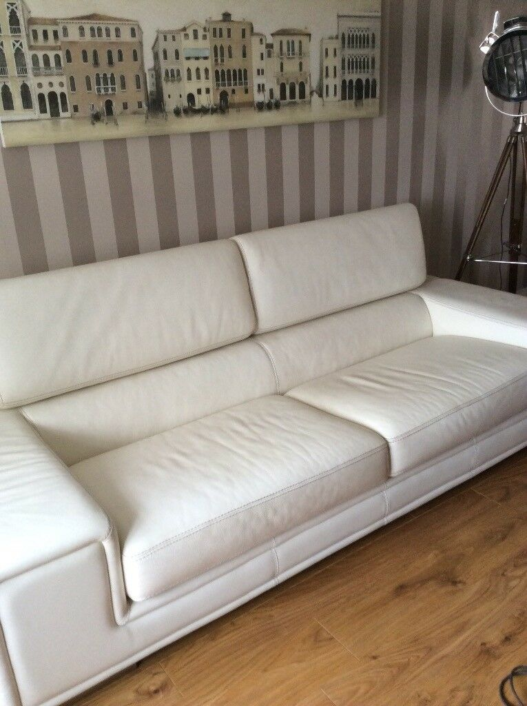 Cream Italian Leather Sofa