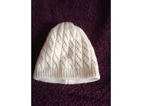 Cream Patterned Woolly Hat