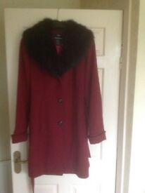 Beautiful quality NEW Denis Basso Ladies 100% wool coat. Dark red with detachable faux fur collar