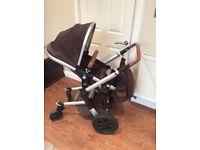 Joolz monkey brown pram stylish,high seat, easy to fold, so nice to push, rear and forward facing.