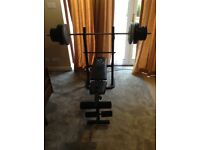 Bench, 55kg of weights, pull up barbell no offers