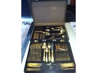70 Pce Gold plated Cutlery set in carry case
