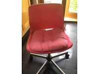 Office desk swivel chair pink with matching cushion