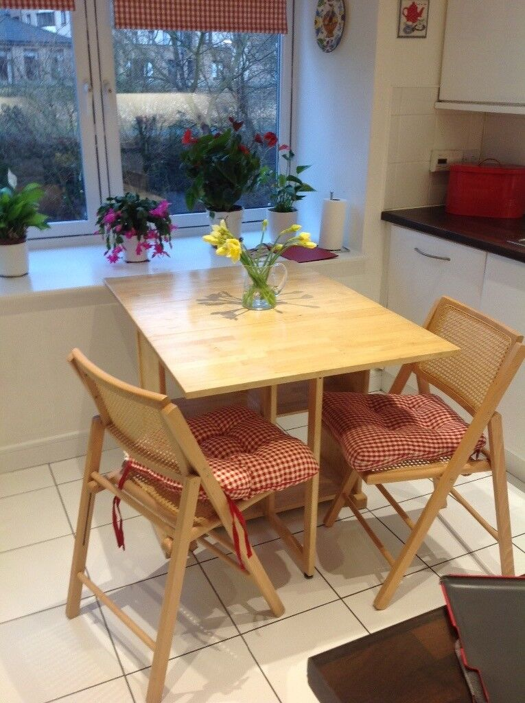 Kitchen Folding Table And 2 Chairs (John Lewis) Extends