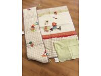 Mamas and papas jamboree cot duvet, bumper and pillow case