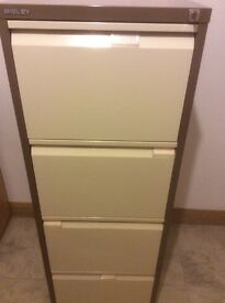 BISLEY 4 Drawer filing cabinet c/w lock and k ey