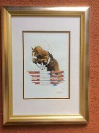 Horse showjumping framed print