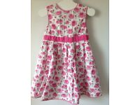 JoJo Maman Bebe Summer Rose Print Party Dress 3-4 Years