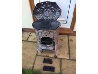 Art Deco cast iron enamel antique log burner