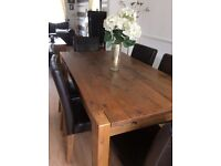 Solid oak dining table chairs and tv unit coffee table