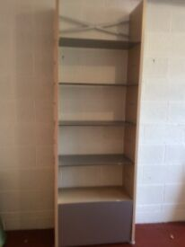 Attractive shelving in sturdy pale wood composite with metal effect shelves