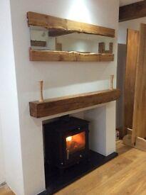 Oak Fire Place Beam - Hollow 6 x 6 x 7 foot