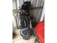 Golf bag, trolley and clubs