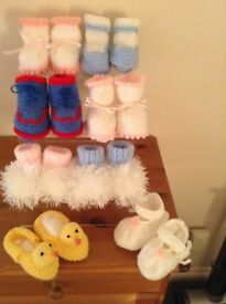 Brand new hand knitted baby booties in different styles in pink blue and lemon