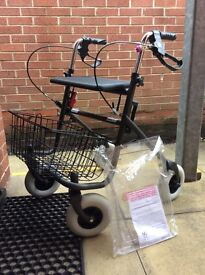 FOUR WHEELED WALKER FROM COOPERS, with seat and basket, in Excellent Condition