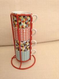 Ben De Lisi Designer Stacking Set of 4 Porcelain Coffee Cups BRAND NEW