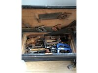 OLD TOOL BOX FULL OF TOOLS
