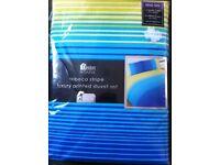 NEW striped, king size duvet set for sale