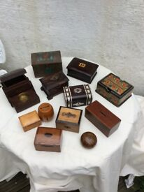 Assortment of small Antique & Vintage boxes